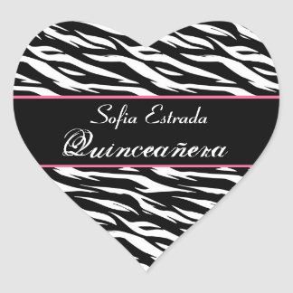 Corazón blanco y rosado negro de Quinceanera del Pegatina En Forma De Corazón