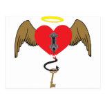 Corazón bloqueado del ángel postal