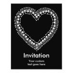 Corazón bonito del cráneo invitación 10,8 x 13,9 cm