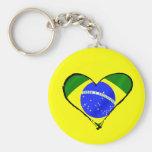 Corazón brasileño del amor de la bandera del Brasi Llavero Redondo Tipo Pin