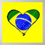 Corazón brasileño del amor de la bandera del Brasi Póster