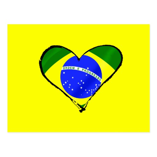 Corazón brasileño del amor de la bandera del Brasi Postales