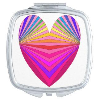 Corazón brillante 2 del rosa del arte de la MOD Espejos De Maquillaje