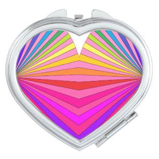 Corazón brillante 3 del rosa del arte de la MOD Espejo Maquillaje