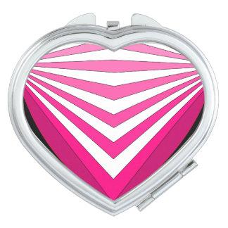 Corazón brillante 4 del rosa del arte de la MOD Espejo De Viaje