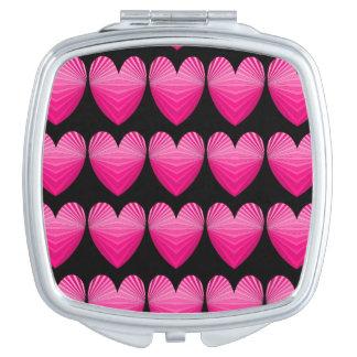 Corazón brillante 8a del rosa del arte de la MOD Espejo Maquillaje