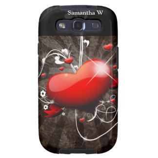 Corazón brillante con el fondo del Grunge de Galaxy S3 Funda