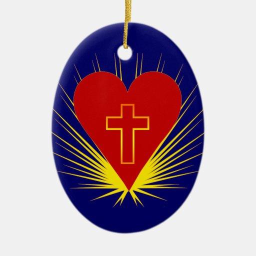 Corazón brillante con el ornamento oval cruzado adornos