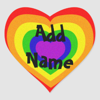 Corazón brillante del arco iris colcomanias de corazon personalizadas