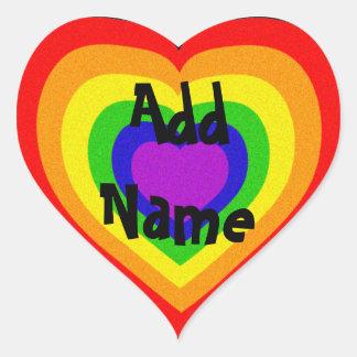 Corazón brillante del arco iris pegatina en forma de corazón
