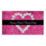 Corazón brillante del diamante del brillo rosado d tarjetas de visita