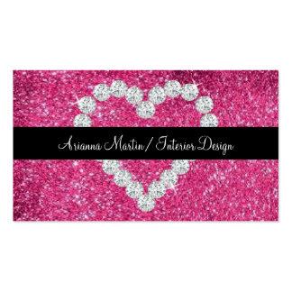 Corazón brillante del diamante del brillo rosado tarjetas de visita