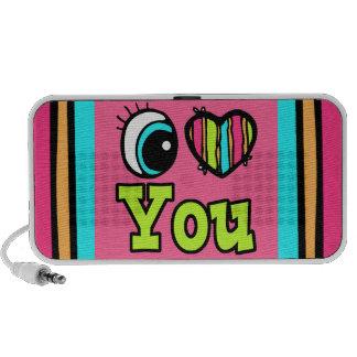 Corazón brillante del ojo te amo iPod altavoz