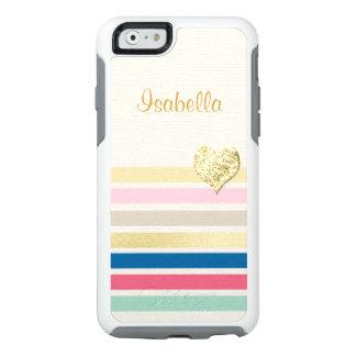 Corazón brillante femenino del oro de la raya funda otterbox para iPhone 6/6s