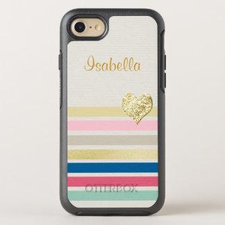 Corazón brillante femenino del oro de la raya funda OtterBox symmetry para iPhone 7