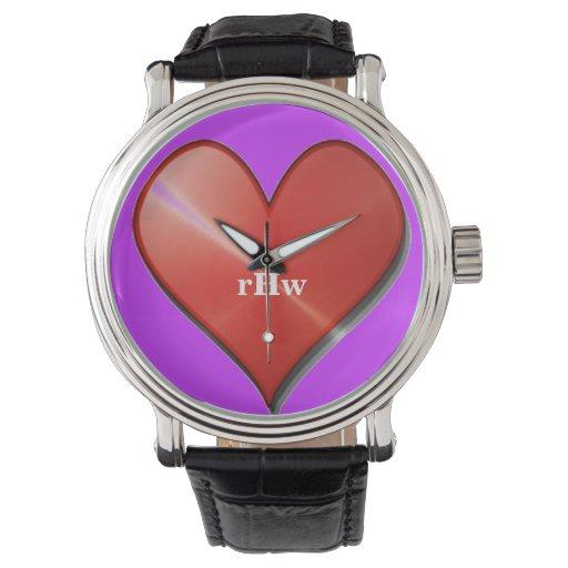 Corazón brillante grande con la repetición del reloj
