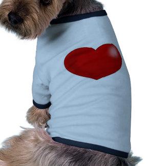 Corazón brillante rojo de la tarjeta del día de camisa de perro