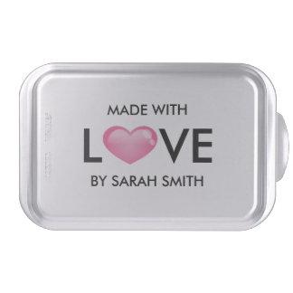 Corazón brillante rosado hecho con amor molde para pasteles