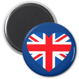 Corazón británico BRITÁNICO Gran Bretaña de la ban Imán Redondo 5 Cm