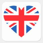 Corazón británico BRITÁNICO Gran Bretaña de la Calcomanías Cuadradass Personalizadas