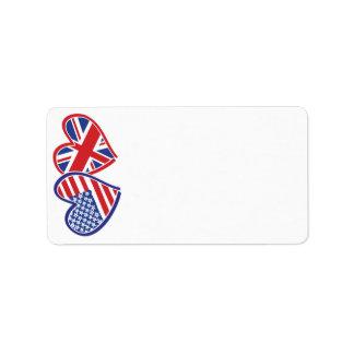 Corazón BRITÁNICO de la bandera de los E.E.U.U. Etiquetas De Dirección