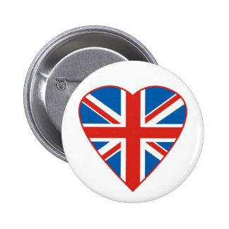 Corazón británico de la bandera pin redondo de 2 pulgadas