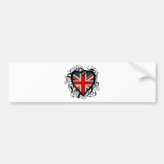 Corazón británico decorativo pegatina de parachoque