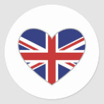 Corazón británico pegatina redonda