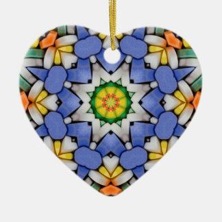 Corazón caleidoscópico Ornament.1 del caramelo de Adorno De Cerámica En Forma De Corazón