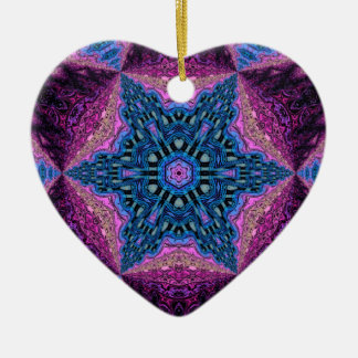 Corazón caleidoscópico personalizado Ornament.2 Adorno De Cerámica En Forma De Corazón