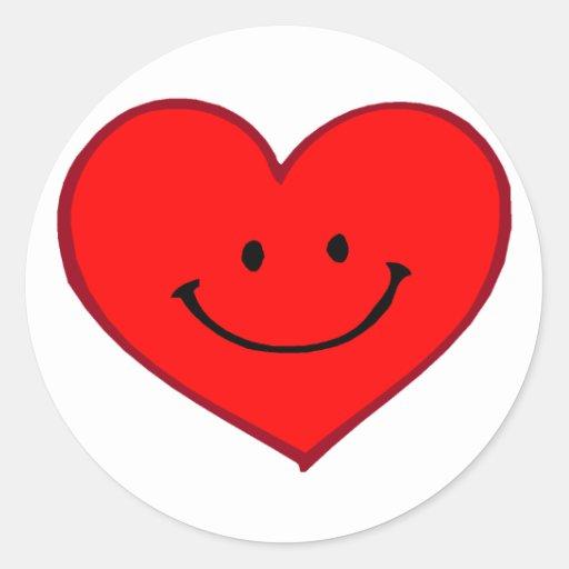 Corazón (cara feliz) pegatinas redondas