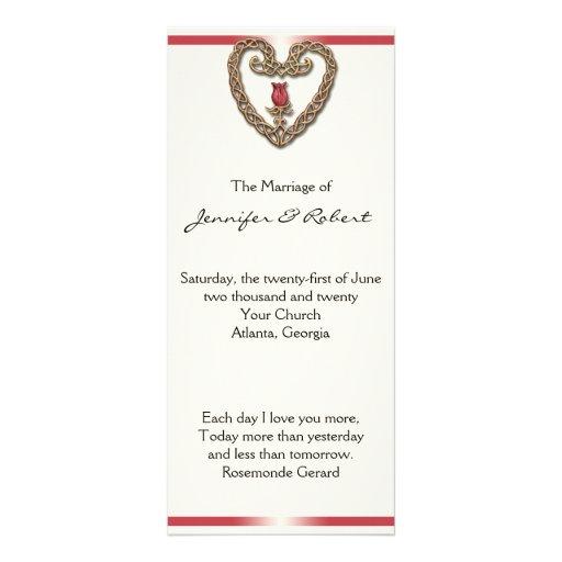 Corazón céltico con programa del boda del rosa plantilla de lona
