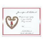 Corazón céltico con una tarjeta de la respuesta invitación 10,8 x 13,9 cm