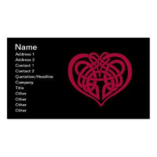Corazón céltico del nudo tarjetas de visita