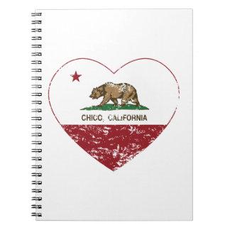 corazón chico de la bandera de California apenado Libretas