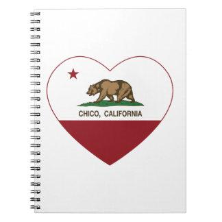 corazón chico de la bandera de California Libro De Apuntes