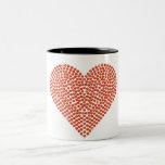 Corazón chispeante impreso del diamante artificial taza dos tonos