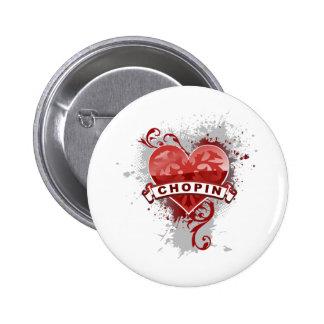 Corazón Chopin Pin Redondo De 2 Pulgadas