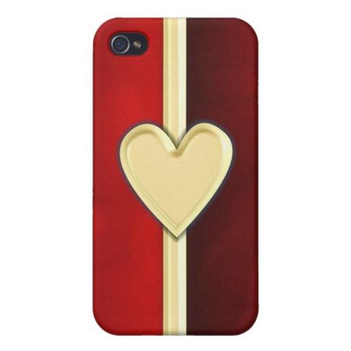 Corazón clásico del oro iPhone 4/4S carcasa