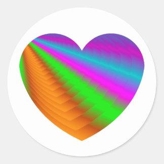 Corazón - Coeur Pegatina Redonda