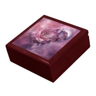 Corazón - color de malva - de un arte color de ros caja de recuerdo