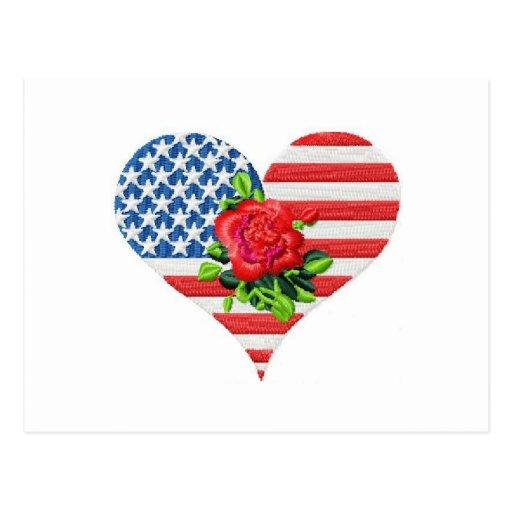 corazón color de rosa americano tarjetas postales