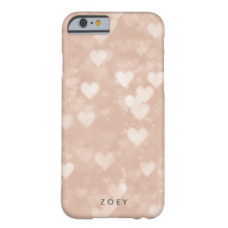Corazón color de rosa Bokeh del oro Funda Barely There iPhone 6