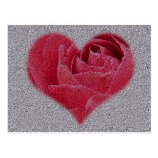 Corazón color de rosa con textura postales