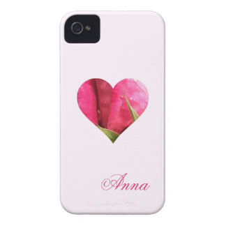 Corazón color de rosa conocido de encargo carcasa para iPhone 4