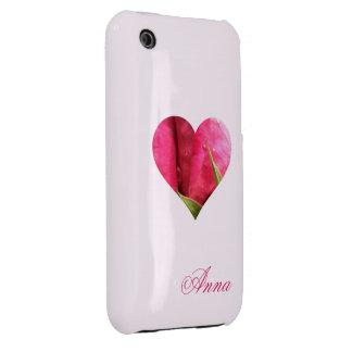 Corazón color de rosa conocido de encargo Case-Mate iPhone 3 fundas