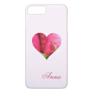 Corazón color de rosa conocido de encargo funda iPhone 7 plus