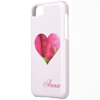 Corazón color de rosa conocido de encargo funda para iPhone 5C