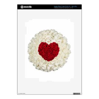 Corazón color de rosa en blanco pegatina skin para iPad 3