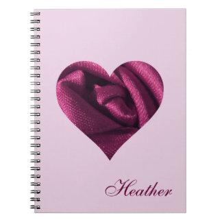 Corazón color de rosa fucsia personalizado libro de apuntes